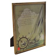 """Vintage Art Deco """"Father is the Captain"""" Framed Motto Print 1920's"""
