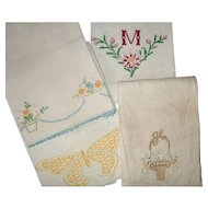 Victorian Hand Towels Four Piece Butterflies and Flowers  Group number 2