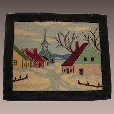 Antique Quebec Hooked Rug Village Scene Circa 1900