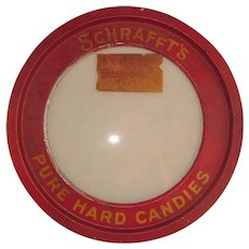 Vintage Candy Store Tin Lid Glass Center with Old Red Paint Schrafft's
