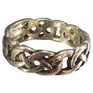 Vintage Sterling Celtic Band Ring Artist Signed with Engraveable Plaque