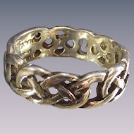 Vintage Sterling Celtic Band Ring Artist Signed with Engraveable Plaque