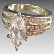 Vintage Marquise CZ Solitaire with Wide Shank Sterling Ring