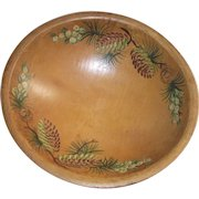 1950's Hand Painted Pine Cones Wooden Bowl by Woodcrofting