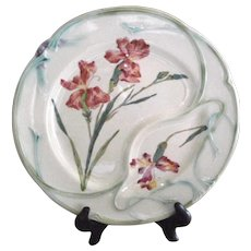 Antique French Country Majolica Asparagus Plate by Longchamp with Lovely Iris