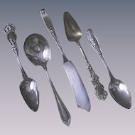 Vintage Kittens in a Basket Silver Plate Spoon Silver Plate Flatware Mixed Lot of Five Pieces