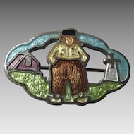 Vintage Dutch Boy and Windmill Enamel Brooch