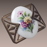 Vintage Porcelain Floral Brooch Purples,Pinks and Yellows 1930s Art Deco Brass