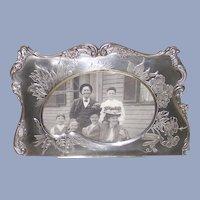 Victorian Brite Cut Picture Frame Silver Plate Artist Pallet Shape