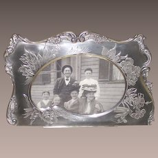 Victorian Brite Cut Picture Frame Silver Plate Shaped like an Artist Pallet