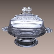 Vintage Victorian EAPG Covered Butter Dish Two Band Pattern