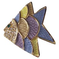 Vintage Enamel Fish Brooch in Blue Yellow Lavender on Gold Tone