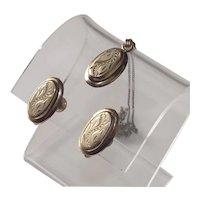 Vintage Mid - Century Pendant and Earrings 1950s Victorian Retro Set