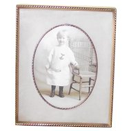 Vintage Picture Frame with a Velvet Back & Easel and Fabric Matte