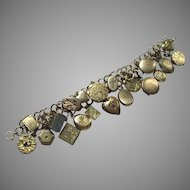 Vintage Locket Charm Bracelet Gold Fill and Rolled Gold 20 Small Lockets Circa 1860 – 1950
