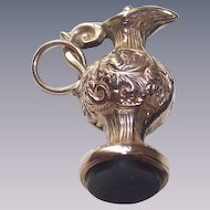 Victorian English Fob Grecian Style Ewer with Blood Stone Seal