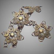 Vintage Art Deco Wire Wrapped Flowers Bracelet with Floral Charm Drop circa: 1930's