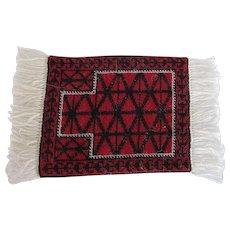 Vintage Prayer Rug Wool Baluchi Salesman's Sample Dated 1989