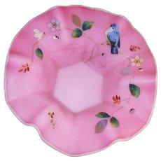 Thomas Webb Brides Bowl Blue Bird and Flowers