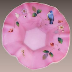 Thomas Webb and Sons Queens Burmese Hand Painted Fruit Bowl with Blue Bird and Flowers English Circa: 1877
