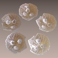 "Vintage Fostoria ""Grape Leaf"" Open Salt Cellars Dips 1935-1940"