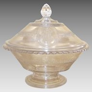 Victorian EAPG Cupid & Venus Covered Compote Richards and Hartley Flint Glass Co. Circa:  1875 – 1884