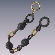 "Vintage Hair Bracelet with ""Tortoise"" Lucite Links"