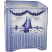 Vintage Delft Vase with Windmill and Sailboat or Business Card Holder