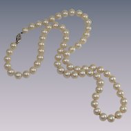 Vintage Glass Pearls Silver Tone Clasp