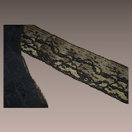 "80"" Vintage Black Machine Lace & 29"" Wide Victorian Black Moire Satin Yardage"