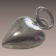 Vintage Sterling Puffy Heart Charm TINY