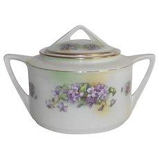 Vintage Violets Biscuit Jar German Hand Painted  Art Deco