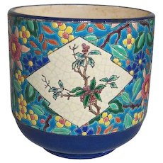 Victorian Longwy Cachepot Large with Stunning Vibrant Floral Colors