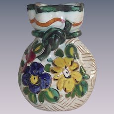 Vintage Italian Faience Vase  Incised by Hand Floral Decoration