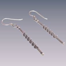 Sterling Stick-Baton Style Earrings