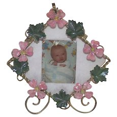 Antique Art Nouveau Table Top Picture Frame with Pink Forget Me Nots