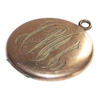 Vintage Locket with Rose Gold Frames Gold Fill Engraved Circa 1940s