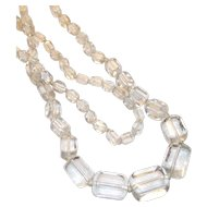 vintage Art Deco Clear Glass Ice Cube Shape Beads Long