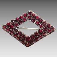 Victorian Bohemian Rose Cut Garnet Brooch Pendant