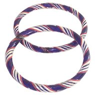 Vintage Pair Czechoslovakian  Red  White and Cobalt Blue Ribbon Glass Bangle Bracelets
