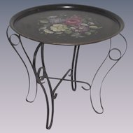 Vintage Tole Tray Hand Painted Floral with Folding Metal Table Stand