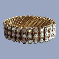 Three Row Aurora Borealis Rhine Stone  Expandable Bracelet
