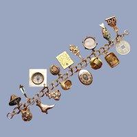 Victorian Charm Bracelet Gold Fill - Seventeen Charms