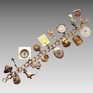 Victorian Charms and Fobs Bracelet Gold Tone