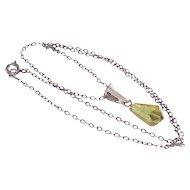 Sterling Necklace with Lemon Lucite Tear Drop Pendant
