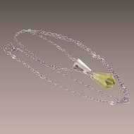 Sterling Necklace with Lemon Lucite Tear Drop Pendant