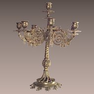 Rococo Style Brass Candelabra Large and Heavy with Eight Arms