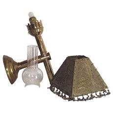 Brass Wall Hanging Candle Stick Lamp with Brass Punched Shade Brass Convertible to Table