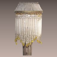Vintage Beaded Candle Stick Shade Yellow and Clear Glass Beads