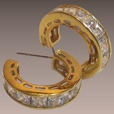 Vintage J Hoop Earrings with Large Princess Cut C.Z's Gold Wash Over Sterling